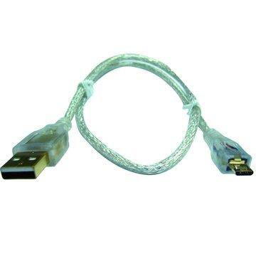 S.C.E 世淇USB 2.0 A公/Micro B公 50CM鍍金透明線