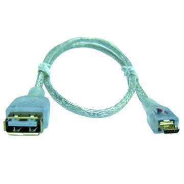 S.C.E 世淇USB 2.0 A母/Micro B公 20CM鍍金透明延長線