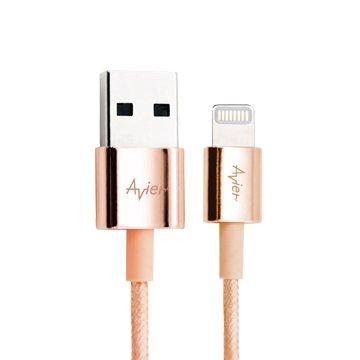 avier Lightning / USB 1M (玫瑰金)鋅合金傳輸充