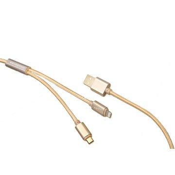 Lightning+MicroB/USB1M金2合1金屬編織