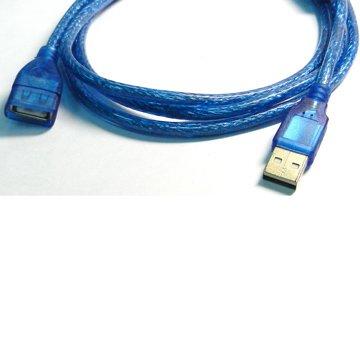 S.C.E 世淇USB2.0 A公/A母 50cm透明藍