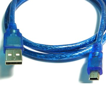 S.C.E 世淇USB2.0 A公/迷你5Pin 50cm透明藍