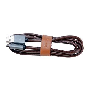 ANDY愛MAY MAY 安迪愛美眉USB2.4A公/Micro USB 咖啡 1M皮質快充線