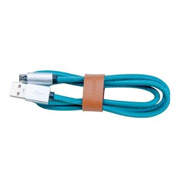ANDY愛MAY MAY 安迪愛美眉USB2.4A公/Micro USB 藍綠 1M皮質快充線