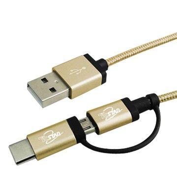 T.C.STAR 連鈺 Type-C+MicroB/USB 1M 2合1線