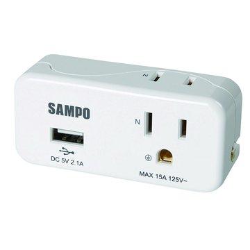 SAMPO 聲寶EP-UB2BU2 2插 2+3孔2A USB擴充座
