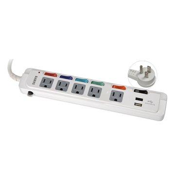 SAMPO 聲寶EL-U65R6U35 六開五插 1.8M + USB*2