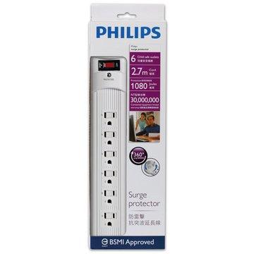 PHILIPS 飛利浦 SPC1061W/96 一開六插2.7M防突波1080焦耳