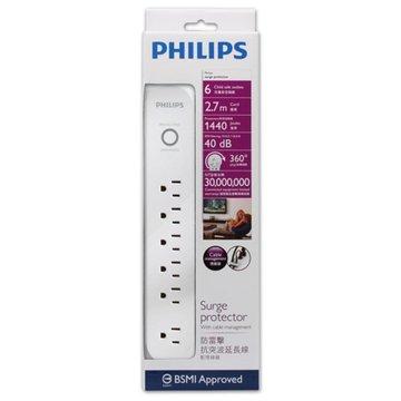PHILIPS 飛利浦 SPC1063W/96 一開六插2.7M防突波1440焦耳