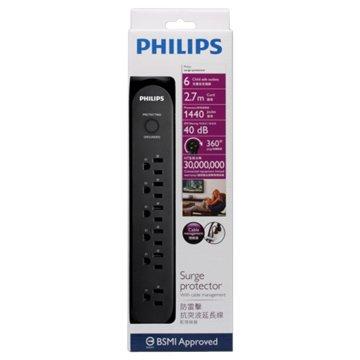 PHILIPS 飛利浦 SPC1063B/96 一開六插2.7M防突波1440焦耳
