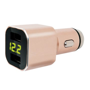 Hawk 雙USB 3.1A 電壓顯示車用充電器 (黑/金)