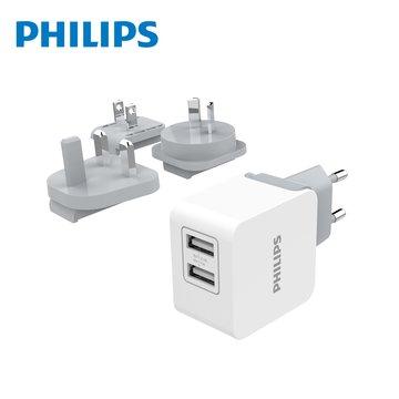 PHILIPS 飛利浦 附多國插頭 3.1A 雙USB旅充 DLP2220