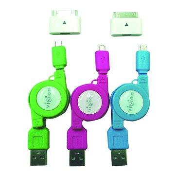 vision 創視USB A公/Micro USB+Apple+Samsung伸縮線