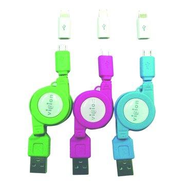 vision 創視USB A公/Micro USB+Lightning充電傳輸線