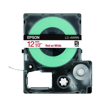 EPSON 愛普生LC-4WRN (12mm)白底紅字一般標籤帶
