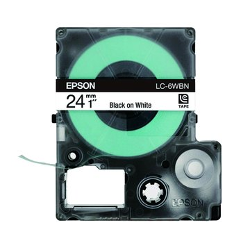 EPSON 愛普生LC-6WBN (24mm)白底黑字一般標籤帶