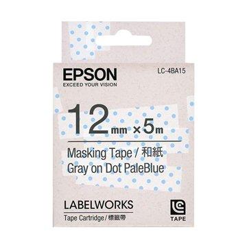 EPSON 愛普生LC-4BA15 (12mm)粉藍透明點和紙標籤帶