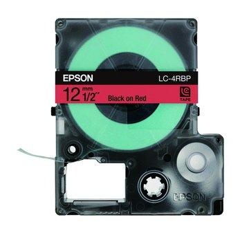 EPSON 愛普生LC-4RBP (12mm)紅底黑字粉彩標籤帶