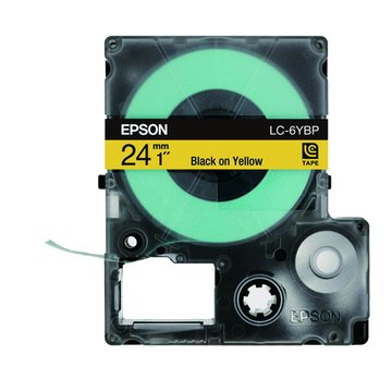 EPSON 愛普生LC-6YBP (24mm)黃底黑字粉彩標籤帶