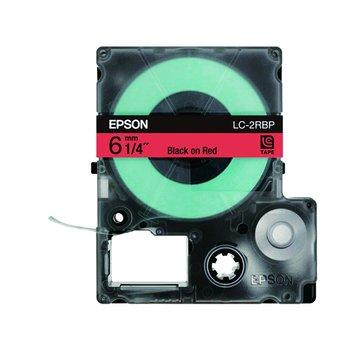 EPSON 愛普生LC-2RBP (6mm)紅底黑字粉彩標籤帶