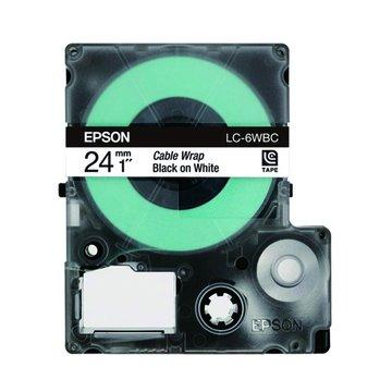 EPSON 愛普生LC-6WBC (24mm)白底黑字線材標籤帶