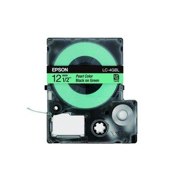 EPSON 愛普生LC-4GBL (12mm)綠底黑字珍珠彩標籤帶