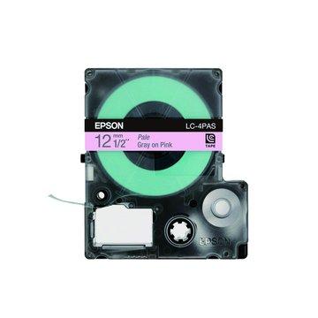 EPSON 愛普生LC-4PAS (12mm)粉紅底灰字淡彩標籤帶