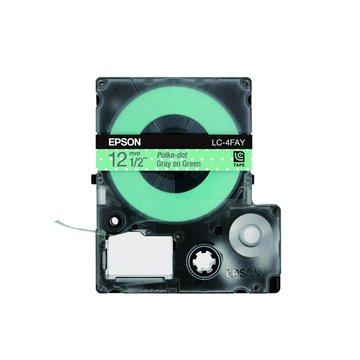 EPSON 愛普生LC-4FAY (12mm)粉綠白點底灰字點紋標籤帶