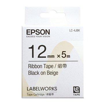 EPSON 愛普生LC-4JBK (12mm)米底黑字緞帶標籤帶