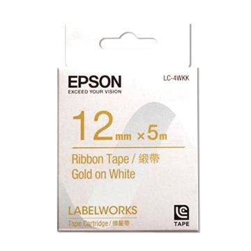 EPSON 愛普生LC-4WKK (12mm)白底金字緞帶標籤帶