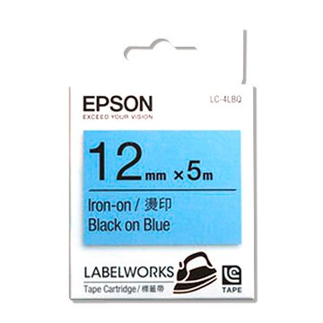 EPSON 愛普生LC-4LBQ (12mm)粉藍底黑字燙印標籤帶
