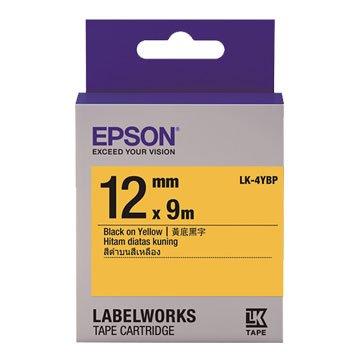 EPSON 愛普生LK-4YBP(12mm)黃底黑字粉彩標籤帶