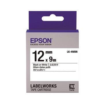 EPSON 愛普生 LK-4WBN(12mm)白底黑字一般標籤帶
