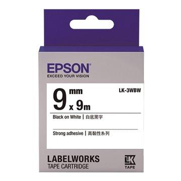 EPSON 愛普生LK-3WBW(9mm)白底黑字高黏性標籤帶