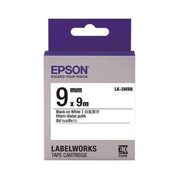 EPSON 愛普生LK-3WBN(9mm)白底黑字一般標籤帶