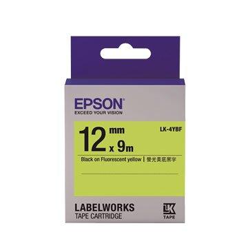 EPSON 愛普生LK-4YBF(12mm)黃底黑字螢光標籤帶