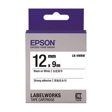 EPSON 愛普生LK-4WBW(12mm)白底黑字高黏性標籤帶