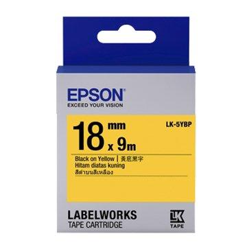 EPSON LK-5YBP(18mm)黃底黑字粉彩標籤帶
