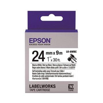 EPSON LK-6WBC(24mm)白底黑字線材標籤帶