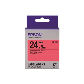 EPSON LK-6YBP(24mm)黃底黑字粉彩標籤帶