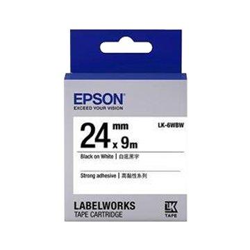 EPSON LK-6WBW(24mm)白底黑字標籤帶
