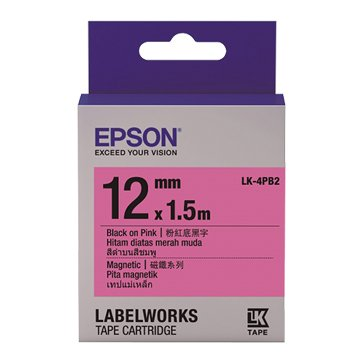 EPSON LK-4PB2(12mm)粉紅底黑字磁鐵標籤帶