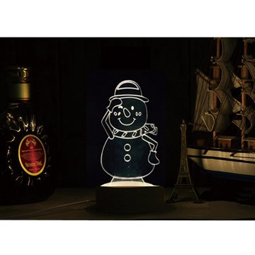 北歐3D立體 USB LED創意小夜燈-雪人(星光折扣)