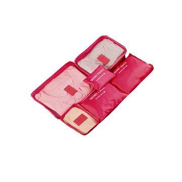 韓版旅行收納袋六件組-玫紅