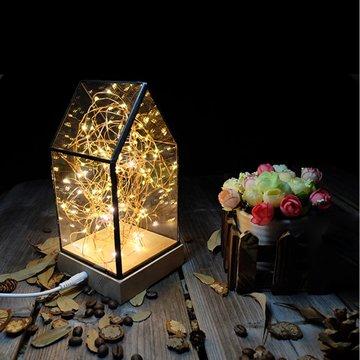 北歐3D立體 USB LED 創意火樹銀花夜燈-房子