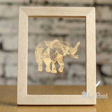北歐3D立體 USB LED 創意相框燈-大象