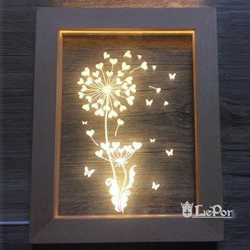 北歐3D立體 USB LED 創意相框燈-蒲公英