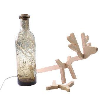 北歐3D立體 LED USB玻璃瓶麋鹿燈