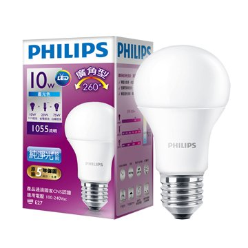 PHILIPS 飛利浦 LED廣角10W燈泡(白)