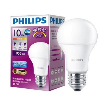 PHILIPS 飛利浦 LED廣角10W燈泡(黃)